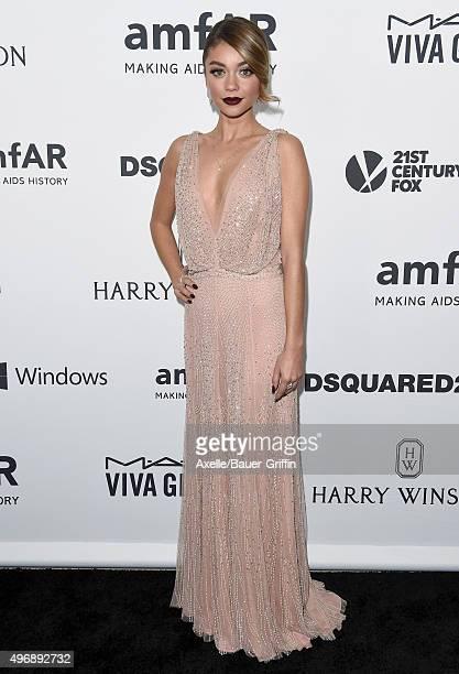 Actress Sarah Hyland arrives at amfAR's Inspiration Gala Los Angeles at Milk Studios on October 29 2015 in Hollywood California