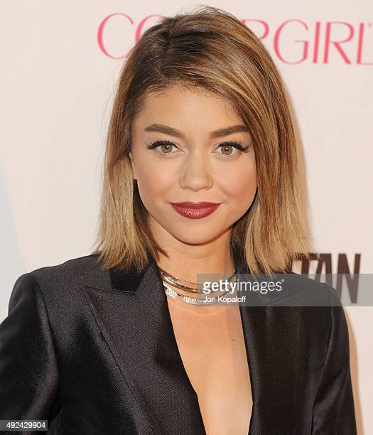 Actress Sarah Hyland arrives at Cosmopolitan Magazine's 50th Birthday Celebration at Ysabel on October 12 2015 in West Hollywood California