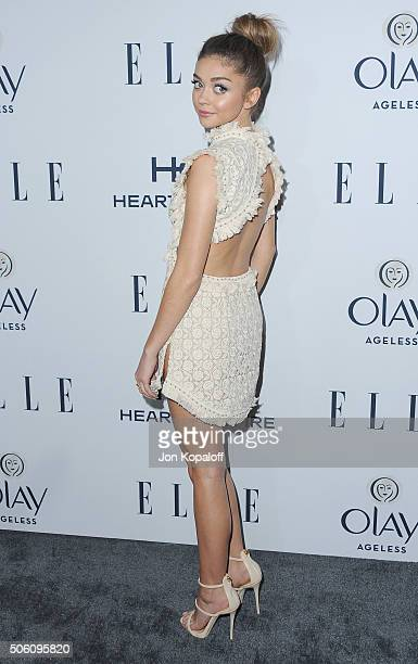 Actress Sarah Hyland arrives at ELLE's 6th Annual Women In Television Dinner at Sunset Tower Hotel on January 20 2016 in West Hollywood California