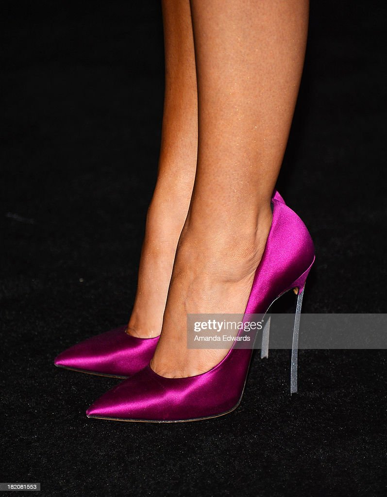 Actress Sarah Hyland (shoe detail) arrives at the 11th Annual Teen Vogue Young Hollywood Party With Emporio Armani on September 27, 2013 in Los Angeles, California.