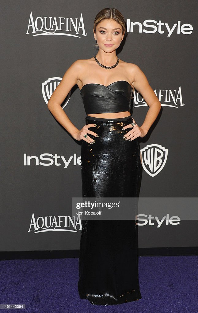 Actress Sarah Hyland arrives at the 16th Annual Warner Bros And InStyle PostGolden Globe Party at The Beverly Hilton Hotel on January 11 2015 in...