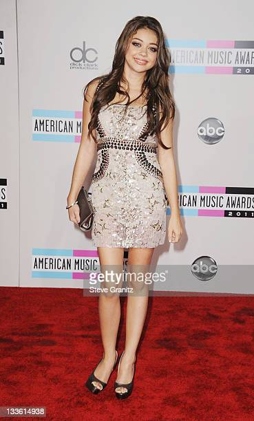 Actress Sarah Hyland arrives at the 2011 American Music Awards held at Nokia Theatre LA LIVE on November 20 2011 in Los Angeles California