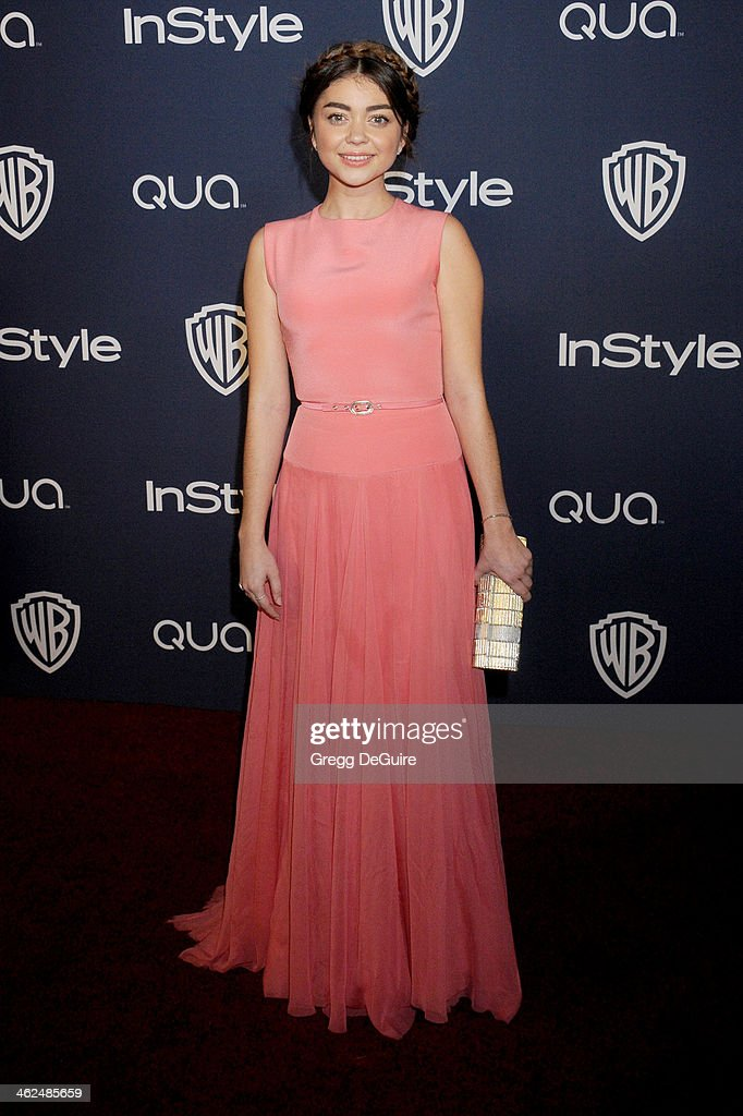 Actress Sarah Hyland arrives at the 2014 InStyle And Warner Bros. 71st Annual Golden Globe Awards post-party at The Beverly Hilton Hotel on January 12, 2014 in Beverly Hills, California.