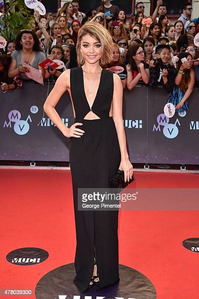 Actress Sarah Hyland arrives at the 2015 MuchMusic Video Awards at MuchMusic HQ on June 21 2015 in Toronto Canada