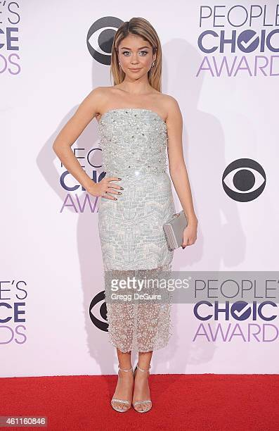 Actress Sarah Hyland arrives at The 41st Annual People's Choice Awards at Nokia Theatre LA Live on January 7 2015 in Los Angeles California