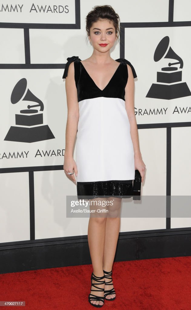 Actress <a gi-track='captionPersonalityLinkClicked' href=/galleries/search?phrase=Sarah+Hyland&family=editorial&specificpeople=3989646 ng-click='$event.stopPropagation()'>Sarah Hyland</a> arrives at the 56th GRAMMY Awards at Staples Center on January 26, 2014 in Los Angeles, California.
