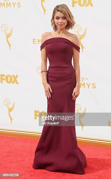 Actress Sarah Hyland arrives at the 67th Annual Primetime Emmy Awards at Microsoft Theater on September 20 2015 in Los Angeles California