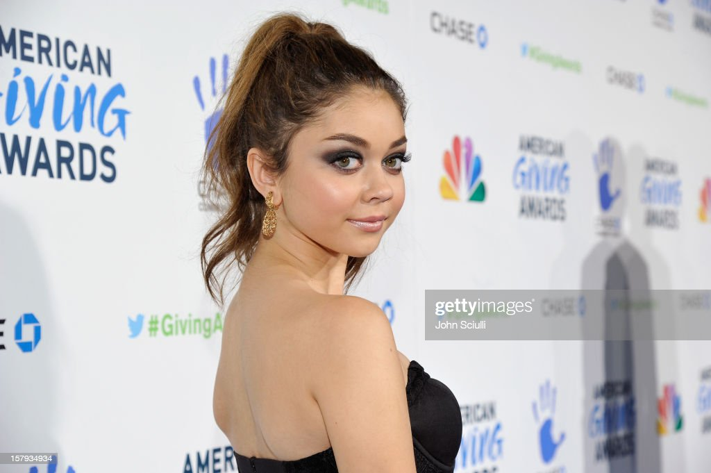 Actress <a gi-track='captionPersonalityLinkClicked' href=/galleries/search?phrase=Sarah+Hyland&family=editorial&specificpeople=3989646 ng-click='$event.stopPropagation()'>Sarah Hyland</a> arrives at the American Giving Awards presented by Chase held at the Pasadena Civic Auditorium on December 7, 2012 in Pasadena, California.