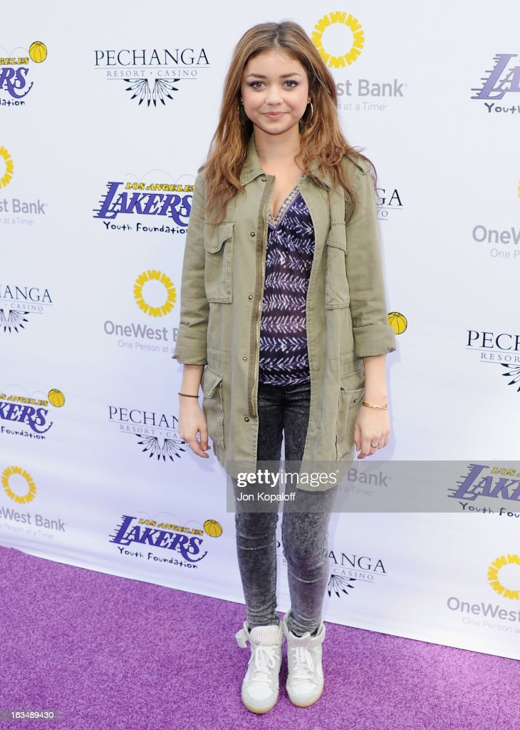 Actress <a gi-track='captionPersonalityLinkClicked' href=/galleries/search?phrase=Sarah+Hyland&family=editorial&specificpeople=3989646 ng-click='$event.stopPropagation()'>Sarah Hyland</a> arrives at the Lakers Casino Night at Club Nokia on March 10, 2013 in Los Angeles, California.