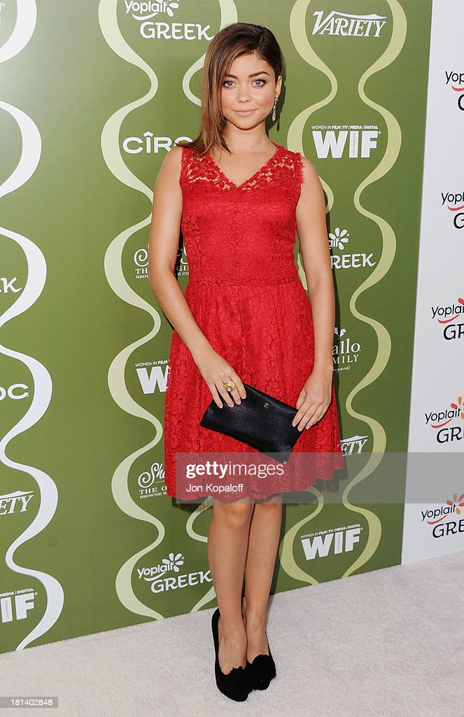 Actress <a gi-track='captionPersonalityLinkClicked' href=/galleries/search?phrase=Sarah+Hyland&family=editorial&specificpeople=3989646 ng-click='$event.stopPropagation()'>Sarah Hyland</a> arrives at the Variety And Women In Film Pre-Emmy Party at Scarpetta on September 20, 2013 in Beverly Hills, California.