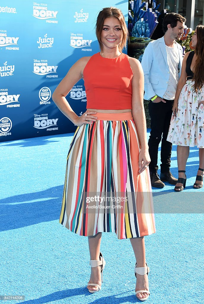 Actress Sarah Hyland arrives at the World Premiere of DisneyPixar's 'Finding Dory' at the El Capitan Theatre on June 8 2016 in Hollywood California