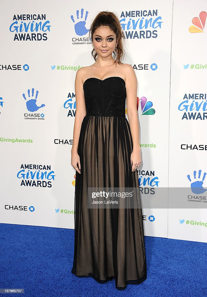 Actress <a gi-track='captionPersonalityLinkClicked' href=/galleries/search?phrase=Sarah+Hyland&family=editorial&specificpeople=3989646 ng-click='$event.stopPropagation()'>Sarah Hyland</a> attends 2012 American Giving Awards at Pasadena Civic Auditorium on December 7, 2012 in Pasadena, California.