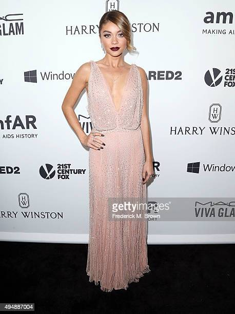 Actress Sarah Hyland attends amfAR's Inspiration Gala Los Angeles at Milk Studios on October 29 2015 in Hollywood California