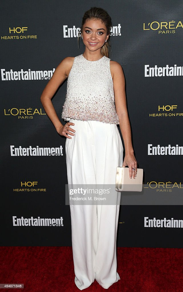 Actress <a gi-track='captionPersonalityLinkClicked' href=/galleries/search?phrase=Sarah+Hyland&family=editorial&specificpeople=3989646 ng-click='$event.stopPropagation()'>Sarah Hyland</a> attends Entertainment Weekly's Pre Emmy Party at the Fig & Olive Melrose Place on August 23, 2014 in West Hollywood, California.