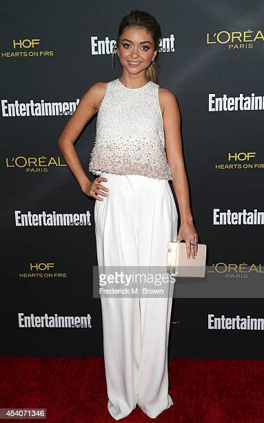 Actress Sarah Hyland attends Entertainment Weekly's Pre Emmy Party at the Fig Olive Melrose Place on August 23 2014 in West Hollywood California