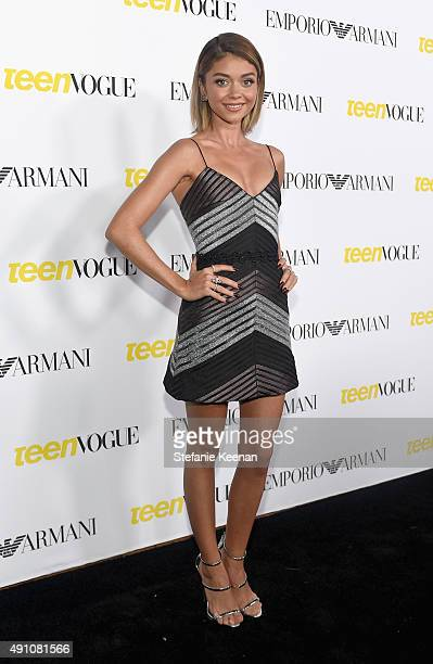 Actress Sarah Hyland attends Teen Vogue Celebrates the 13th Annual Young Hollywood Issue with Emporio Armani on October 2 2015 in Beverly Hills...