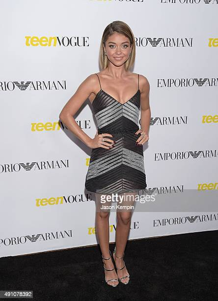 Actress Sarah Hyland attends Teen Vogue's 13th Annual Young Hollywood Issue Launch Party on October 2 2015 in Los Angeles California