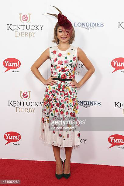 Actress Sarah Hyland attends the 141st Kentucky Derby at Churchill Downs on May 2 2015 in Louisville Kentucky