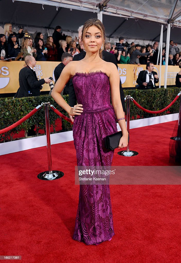 Actress Sarah Hyland attends the 19th Annual Screen Actors Guild Awards at The Shrine Auditorium on January 27, 2013 in Los Angeles, California. (Photo by Stefanie Keenan/WireImage) 23116_025_1772.JPG