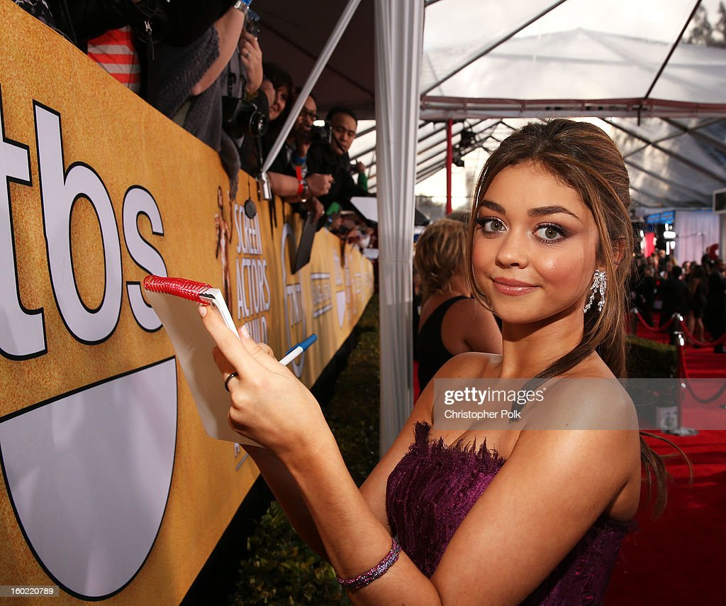 Actress Sarah Hyland attends the 19th Annual Screen Actors Guild Awards at The Shrine Auditorium on January 27, 2013 in Los Angeles, California. (Photo by Christopher Polk/WireImage) 23116_012_0809.jpg