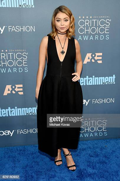 Actress Sarah Hyland attends The 22nd Annual Critics' Choice Awards at Barker Hangar on December 11 2016 in Santa Monica California