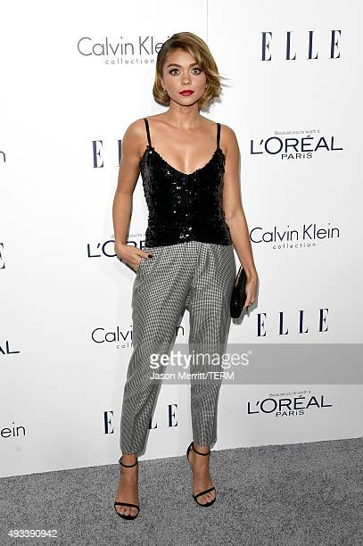 Actress Sarah Hyland attends the 22nd Annual ELLE Women in Hollywood Awards at Four Seasons Hotel Los Angeles at Beverly Hills on October 19 2015 in...