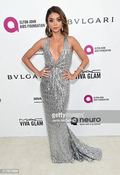 Actress Sarah Hyland attends the 24th Annual Elton John AIDS Foundation's Oscar Viewing Party at The City of West Hollywood Park on February 28 2016...