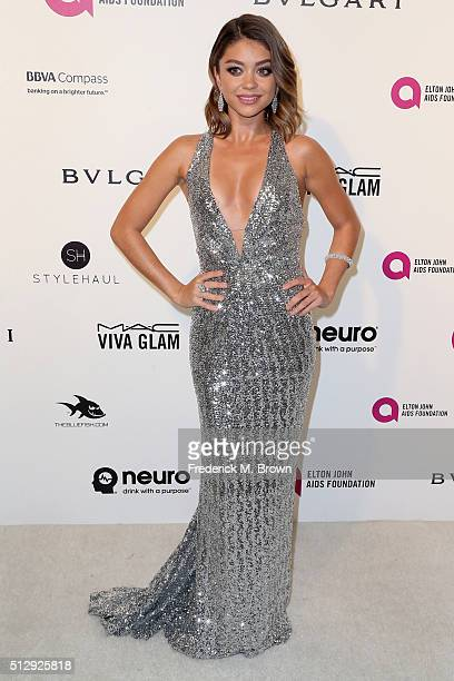 Actress Sarah Hyland attends the 24th Annual Elton John AIDS Foundation's Oscar Viewing Party on February 28 2016 in West Hollywood California