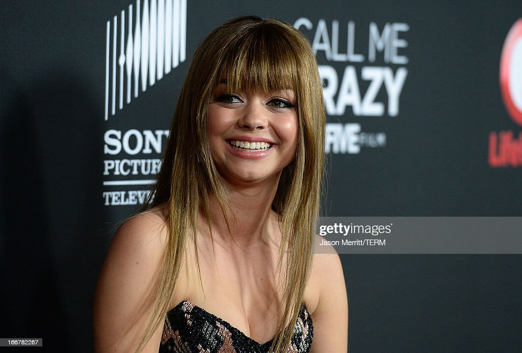 Actress <a gi-track='captionPersonalityLinkClicked' href=/galleries/search?phrase=Sarah+Hyland&family=editorial&specificpeople=3989646 ng-click='$event.stopPropagation()'>Sarah Hyland</a> attends the premiere of Lifetime's 'Call Me Crazy: A Five Film' at Pacific Design Center on April 16, 2013 in West Hollywood, California.