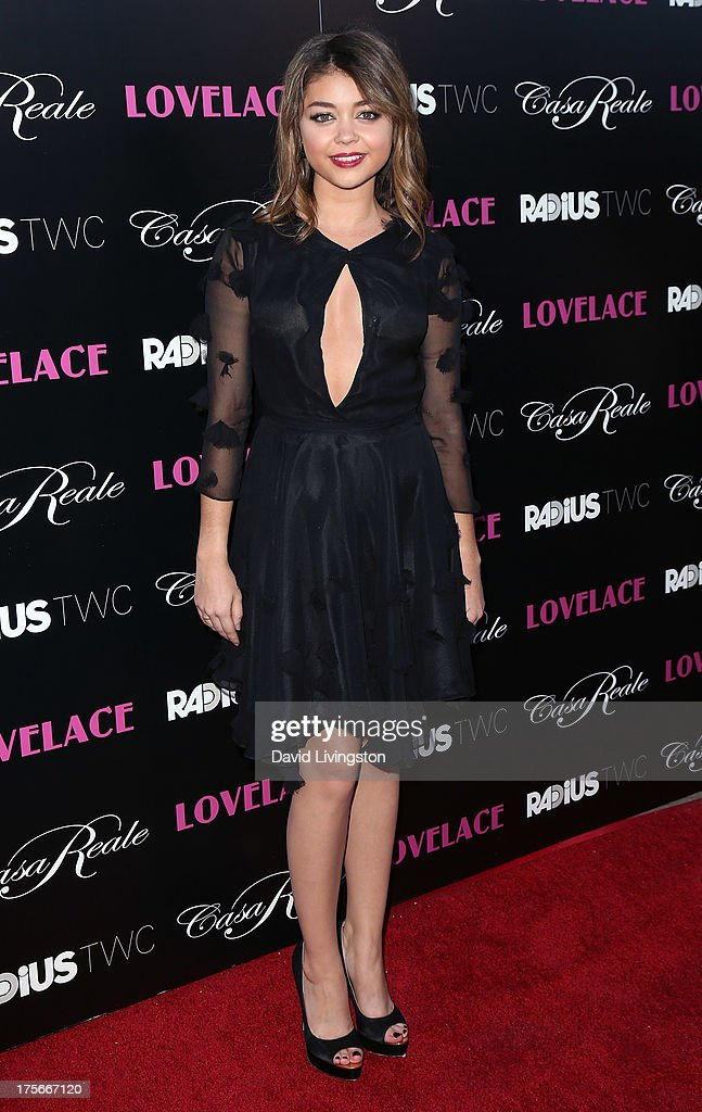 Actress <a gi-track='captionPersonalityLinkClicked' href=/galleries/search?phrase=Sarah+Hyland&family=editorial&specificpeople=3989646 ng-click='$event.stopPropagation()'>Sarah Hyland</a> attends the premiere of RADiUS-TWC's 'Lovelace' at the Egyptian Theatre on August 5, 2013 in Hollywood, California.