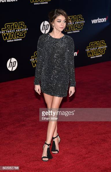 Actress Sarah Hyland attends the premiere of Walt Disney Pictures and Lucasfilm's 'Star Wars The Force Awakens' at the Dolby Theatre on December 14...