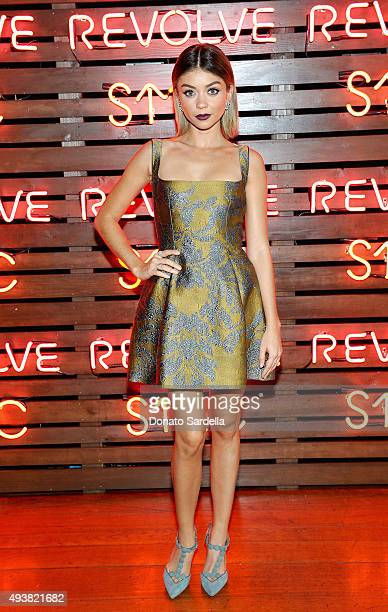 Actress Sarah Hyland attends the REVOLVE fashion show benefiting Stand Up To Cancer on October 22 2015 in Los Angeles California