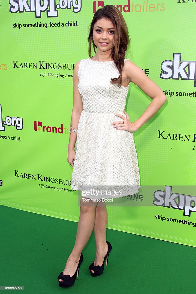 Actress <a gi-track='captionPersonalityLinkClicked' href=/galleries/search?phrase=Sarah+Hyland&family=editorial&specificpeople=3989646 ng-click='$event.stopPropagation()'>Sarah Hyland</a> attends the Skip1.org's 'Skip And Donate' gala event held at The Lot on April 6, 2013 in West Hollywood, California.