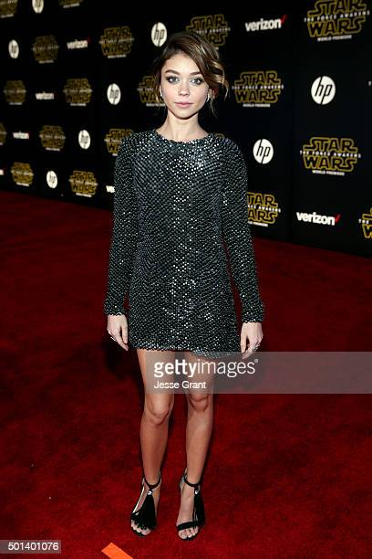 "Actress Sarah Hyland attends the World Premiere of ""Star Wars The Force Awakens"" at the Dolby El Capitan and TCL Theatres on December 14 2015 in..."
