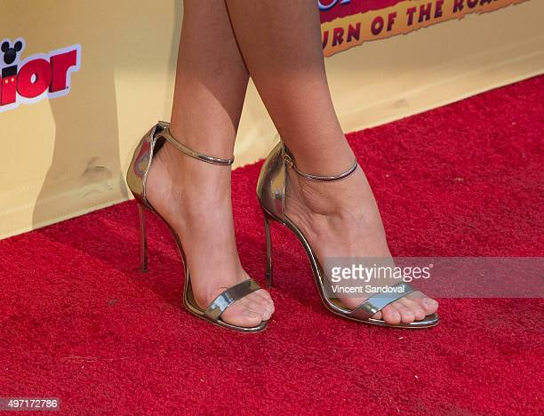 Actress Sarah Hyland shoe detail attends the premiere of Disney Channel's 'The Lion Guard Return Of The Roar' at Walt Disney Studios on November 14...