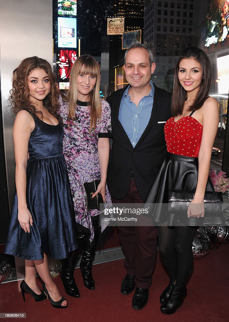 Actress Sarah Hyland, Teen Vogue Editor-in-Chief Amy Astley, Teen Vogue Publisher Jason Wagenheim and actress Victoria Justice attend the 10th Anniversary of Teen Vogue and Aeropostale's Celebration of Chloe Grace Moretz's Sweet 16 at Aeropostale Times Square on February 7, 2013 in New York City.