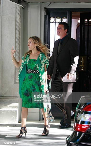 Actress Sarah Jessica Parker and actor Chris Noth on the first day of filming for 'Sex and the City The Movie' September 19 2007 in New York City