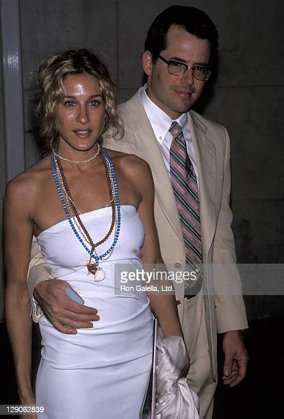 Actress Sarah Jessica Parker and actor Matthew Broderick attend the Talk Magazine Launch Party on August 2 1999 at Liberty Island in New York City
