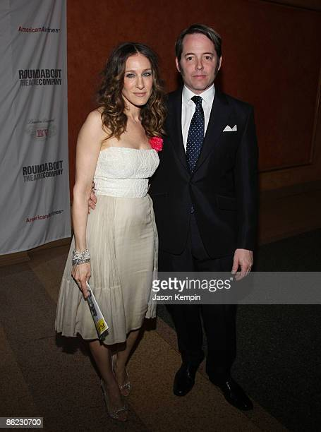 Actress Sarah Jessica Parker and actor Matthew Broderick attend 'The Philanthropist' Broadway opening night party at the Roundabout Theatre Company's...