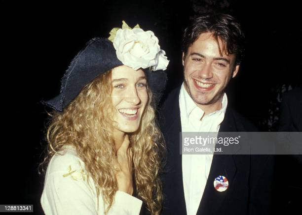 Actress Sarah Jessica Parker and actor Robert Downey Jr attend the 1988 Presidential Campaign Democratic Candidate Michael Dukakis' Benefit Cocktail...