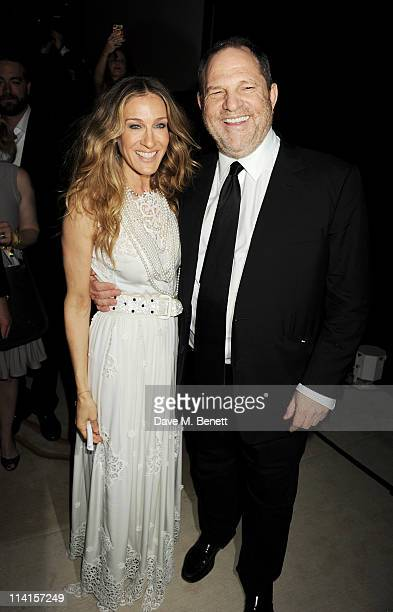 Actress Sarah Jessica Parker and CoChairman of The Weinstein Company Harvey Weinstein attend The Weinstein Company VIP Press Event hosted by Sarah...
