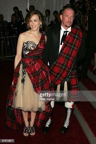 Actress Sarah Jessica Parker and designer Alexander McQueen attend the Metropolitan Museum of Art Costume Institute Benefit Gala Anglomania at the...