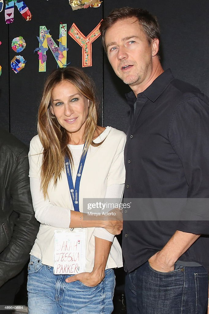 Actress Sarah Jessica Parker and Ed Norton attend a press conference launching Turnarond Arts in NYC Schools at the Brooklyn Museum on September 22...