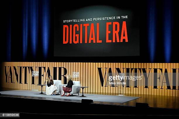 Actress Sarah Jessica Parker and executive West Coast editor of Vanity Fair Krista Smith speak onstage during 'Storytelling and Persistence in the...