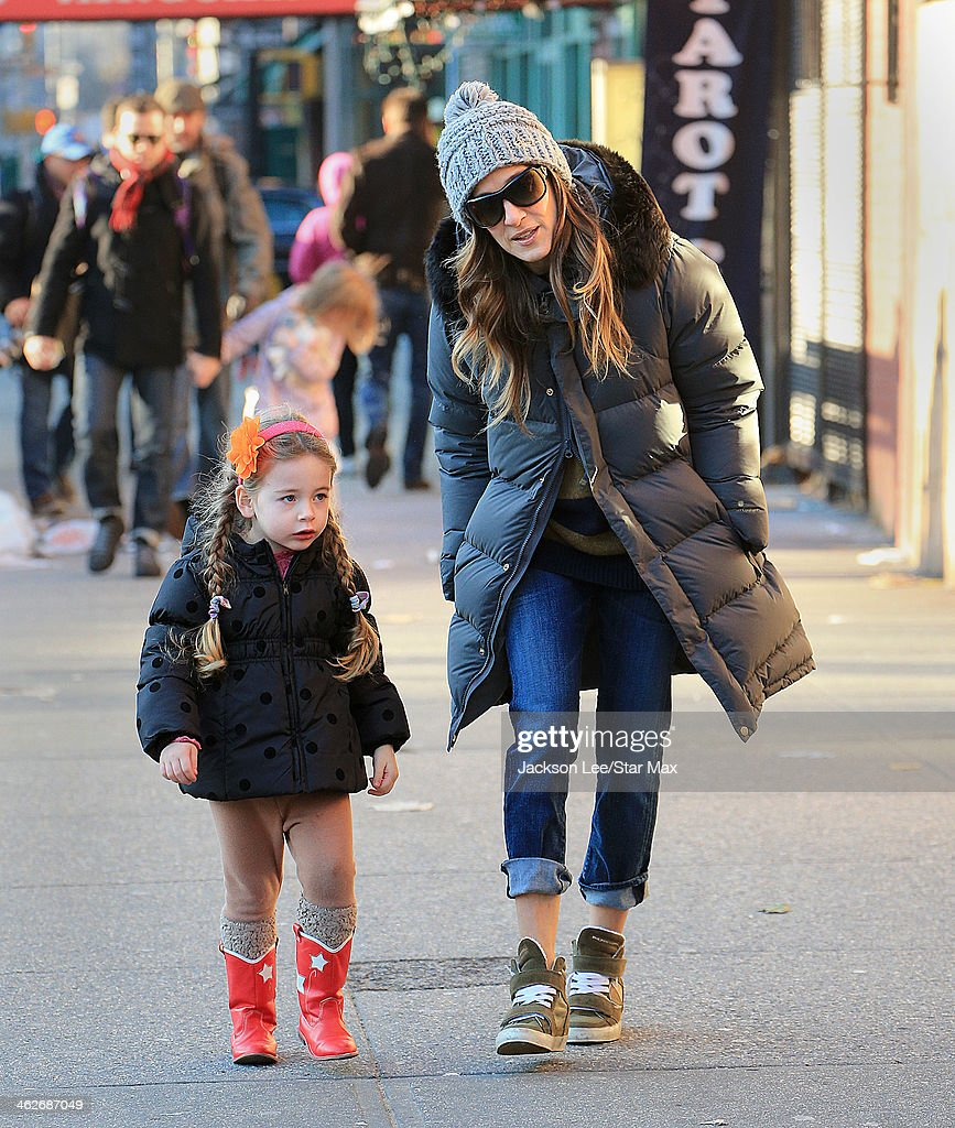Actress Sarah Jessica Parker and her daughter Tabitha Broderick are seen on January 14 2014 in New York City