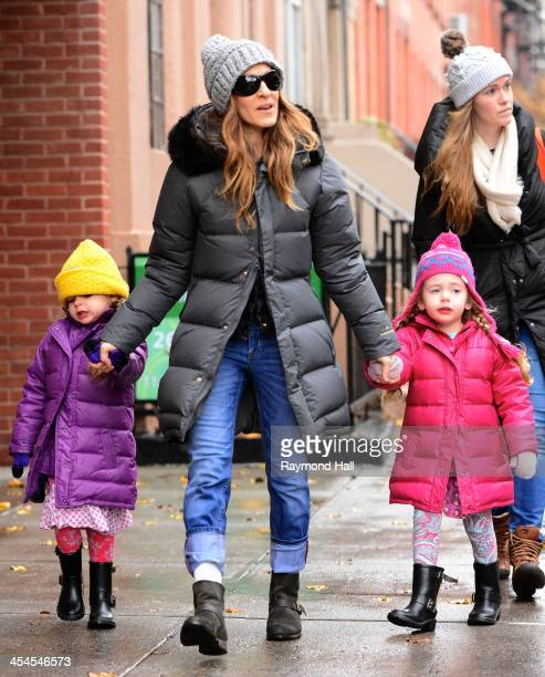 Actress Sarah Jessica Parker and her daughters Marion Broderick and Tabitha Broderick are seen in the West Village on December 9 2013 in New York City