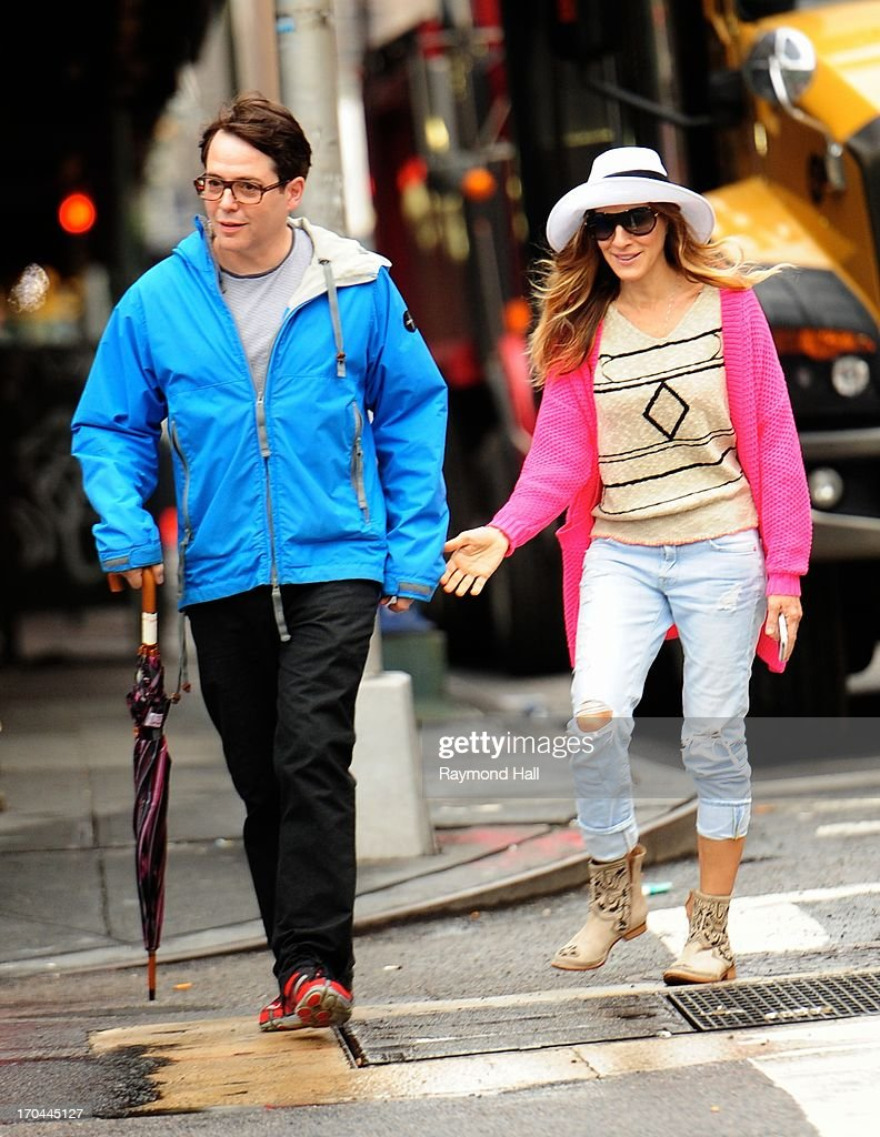 Actress Sarah Jessica Parker and Matthew Broderick are seen in Soho n June 13, 2013 in New York City.