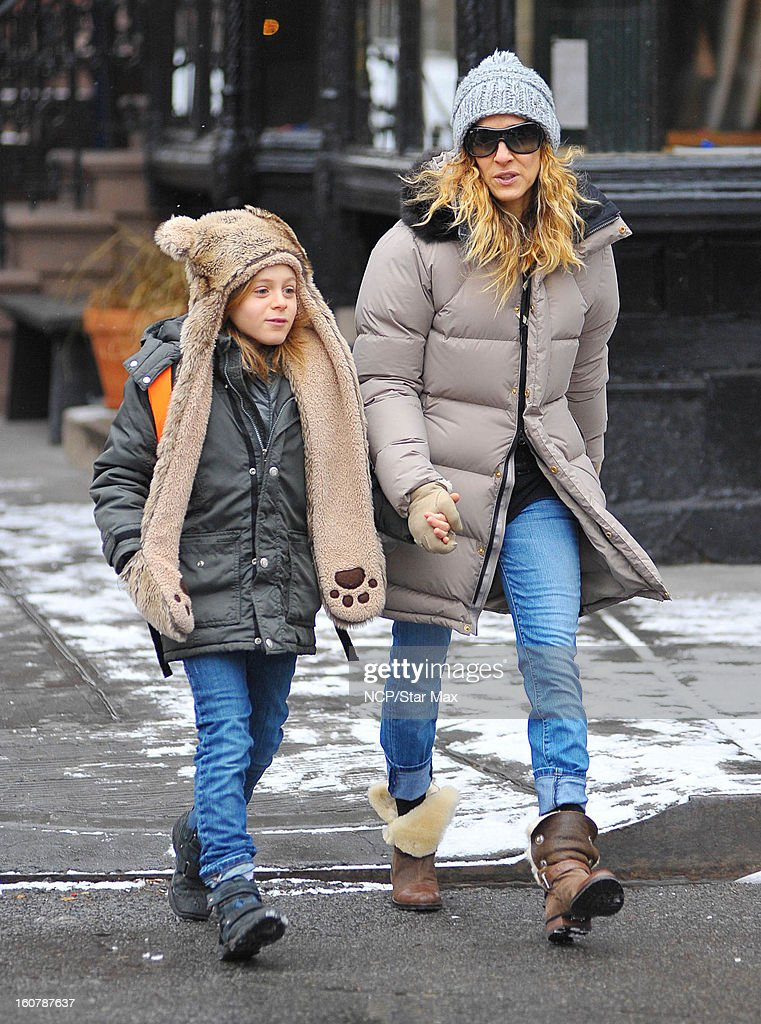 Actress <a gi-track='captionPersonalityLinkClicked' href=/galleries/search?phrase=Sarah+Jessica+Parker&family=editorial&specificpeople=201693 ng-click='$event.stopPropagation()'>Sarah Jessica Parker</a> and son James Broderick as seen on February 5, 2013 in New York City.