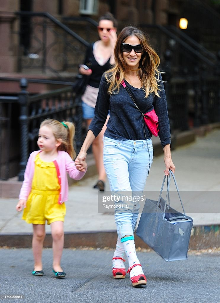 Actress Sarah Jessica Parker and Tabitha Broderick are seen in west village on June 6 2013 in New York City