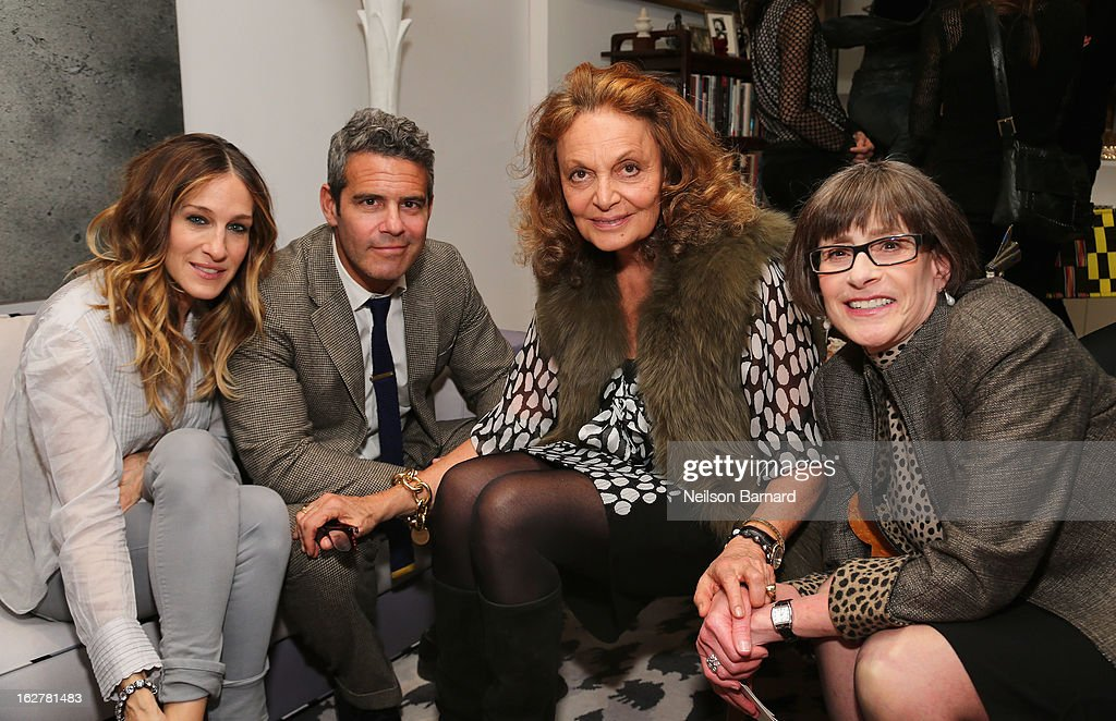 Actress <a gi-track='captionPersonalityLinkClicked' href=/galleries/search?phrase=Sarah+Jessica+Parker&family=editorial&specificpeople=201693 ng-click='$event.stopPropagation()'>Sarah Jessica Parker</a>, Andy Cohen, fashion designer Diane Von Furstenberg and the United States Holocaust Memorial Museum Director Sara Bloomfield host the Museum's 20th Anniversary reception on February 26, 2013 in New York City.
